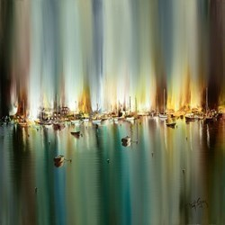 Harbour Sundown II by Philip Gray -  sized 28x28 inches. Available from Whitewall Galleries